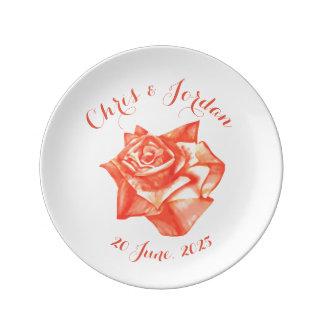 Assiette En Porcelaine Cadeau de mariage élégant simple de rose de corail