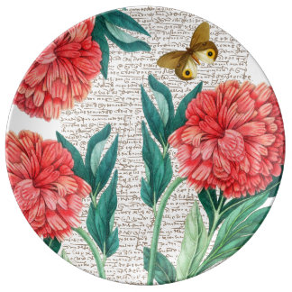 Assiette En Porcelaine Calligraphie rouge de pivoine