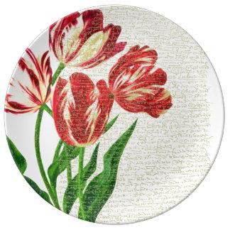 Assiette En Porcelaine Calligraphie rouge de tulipes
