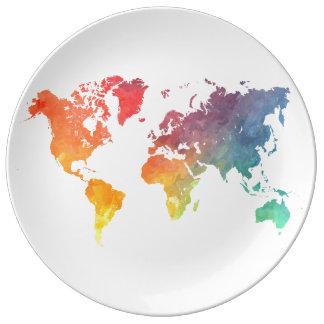 Assiette En Porcelaine carte 5 du monde