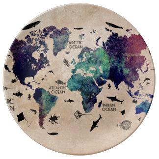 Assiette En Porcelaine carte du monde