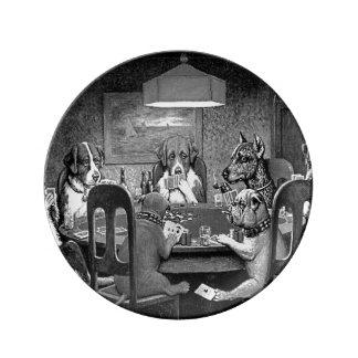 Assiette En Porcelaine Chiens jouant au poker un ami dans le besoin