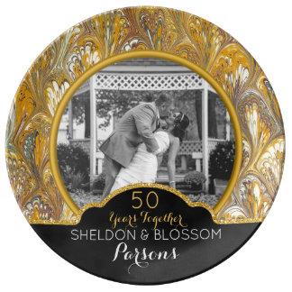 Assiette En Porcelaine cinquantième Souvenir de photo d'anniversaire de