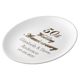 Assiette En Porcelaine cinquantième Typographie d'anniversaire de mariage