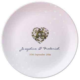 Assiette En Porcelaine Coeurs roses de mariage