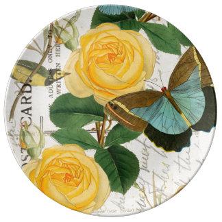Assiette En Porcelaine Collage de roses jaunes