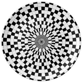 Assiette En Porcelaine Contre- spirales par Kenneth Yoncich