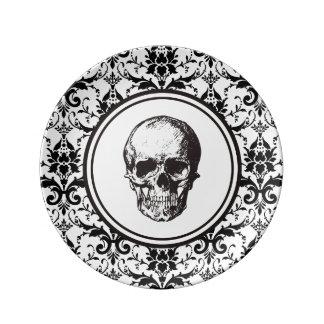 Assiette En Porcelaine Crâne gothique noir de motif de damassé de style