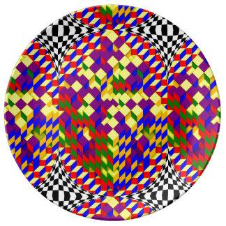 Assiette En Porcelaine Cube cassé avec l'ombre par Kenneth Yoncich