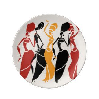 Assiette En Porcelaine Dames africaines de danse