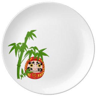Assiette En Porcelaine Daruma chanceux japonais