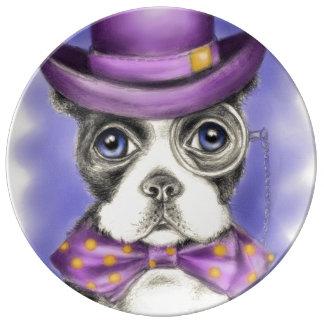 Assiette En Porcelaine Détective pourpre de Boston Terrier