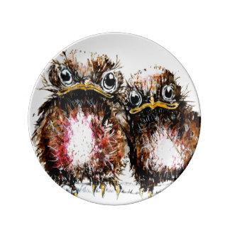 Assiette En Porcelaine Deux oiseaux de bébé illustrés