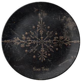 Assiette En Porcelaine Feuille d'or en cuir antique de livre Fleur-De-lis