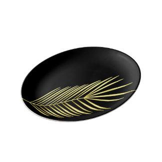 Assiette En Porcelaine feuilles de palmier dorées