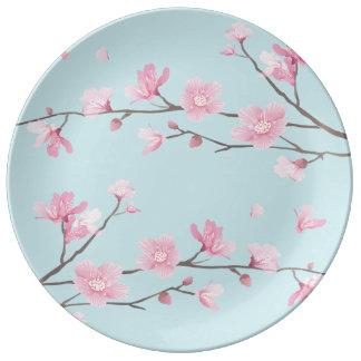 Assiette En Porcelaine Fleurs de cerisier - bleu de ciel