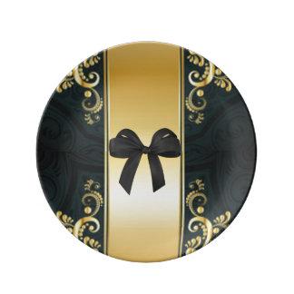 Assiette En Porcelaine Flore noire d'arc d'impression de motif d'or