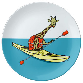 Assiette En Porcelaine Girafe Kayaking