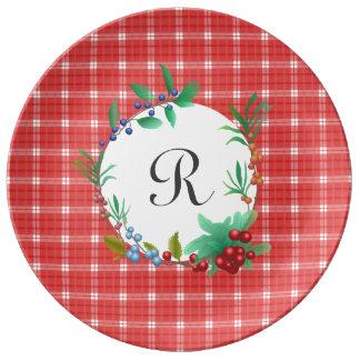 Assiette En Porcelaine Guirlande rouge et blanche de baie de plaid
