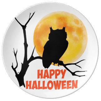 Assiette En Porcelaine Hibou de Halloween
