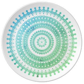 Assiette En Porcelaine Hippie gitane folklorique tribale verte en bon