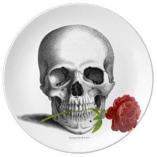 Assiette En Porcelaine Imaginaire rose d'horreur de crâne gothique