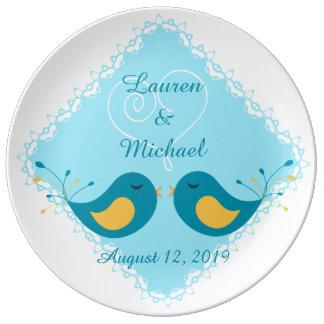 Assiette En Porcelaine Inséparables bleus épousant le souvenir