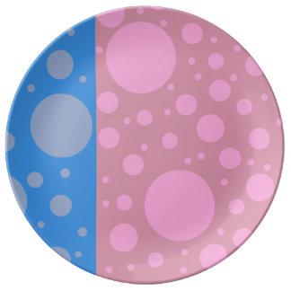 Assiette En Porcelaine Le bleu rose pointille le plat décoratif de