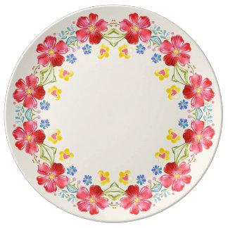 Assiette En Porcelaine Le jardin de soleil fleurit le plat décoratif de