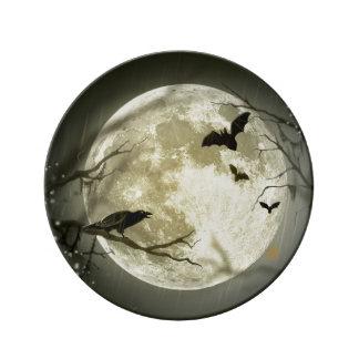 Assiette En Porcelaine Lune de Halloween - illustration de pleine lune