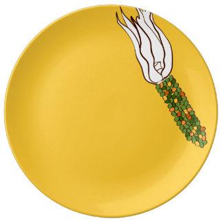 Assiette En Porcelaine Maïs de chute : Plat décoratif de porcelaine de