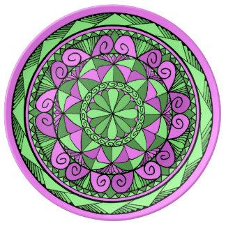 Assiette En Porcelaine Mandala d'indigo