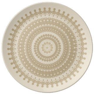 Assiette En Porcelaine Mandala tribal Brown de terre bronzage de cercle