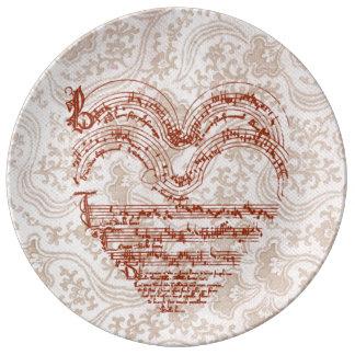 Assiette En Porcelaine Manuscrit médiéval rouge-foncé en forme de coeur
