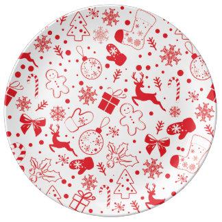 Assiette En Porcelaine Motif rouge drôle de Christmassy