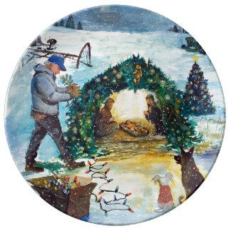 Assiette En Porcelaine Noël de pays à la ferme