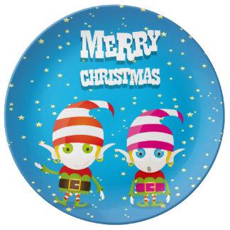 Assiette En Porcelaine Noël mignon drôle Elf