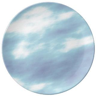 Assiette En Porcelaine Nuages de tempête bleus