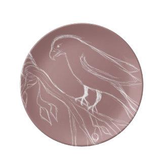 Assiette En Porcelaine oiseau de chant