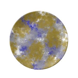Assiette En Porcelaine Or d'impression d'éponge d'or et plat bleu