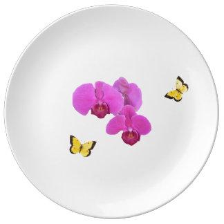 Assiette En Porcelaine Orchidée rose