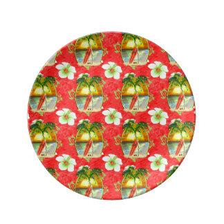 Assiette En Porcelaine Palmier tropical de Noël