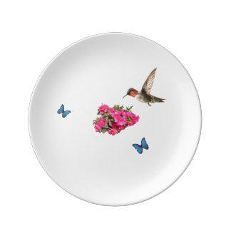 Assiette En Porcelaine Papillons et colibri d'Azalias