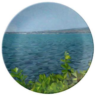 Assiette En Porcelaine Paysage de mer dans la technique de polygone