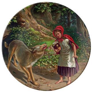 Assiette En Porcelaine Peu de capuchon rouge