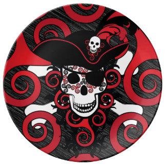 Assiette En Porcelaine Pirate en spirale celtique