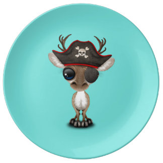 Assiette En Porcelaine Pirate mignon de renne de bébé