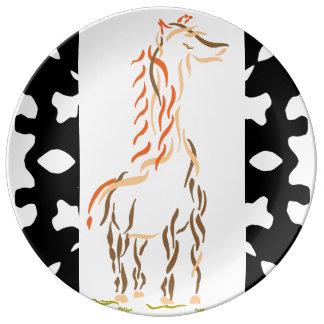 Assiette En Porcelaine Plat 2 d'art moderne de girafe