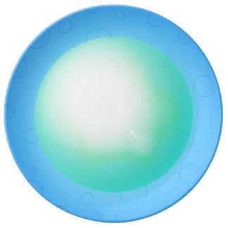 Assiette En Porcelaine Plat de dîner du concepteur 3D de bleu de ciel