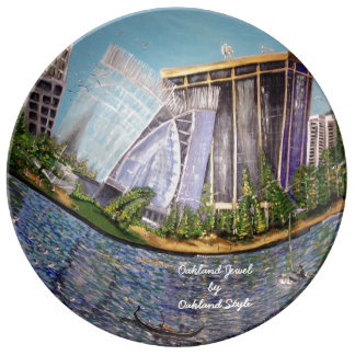 Assiette En Porcelaine Plat décoratif de porcelaine de bijou d'Oakland